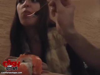 Chick sucks cock in a sushi bar restroom Video